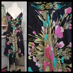 Nicole Miller 100% Silk Floral Print Dress